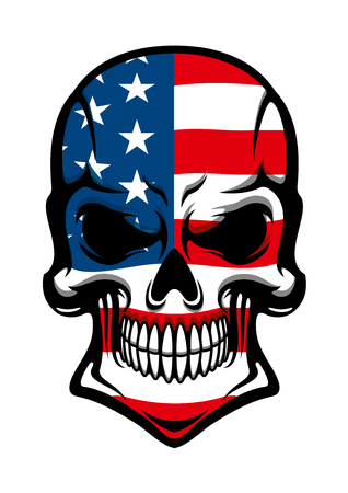 skull and bones: Human skull tattoo with American flag, isolated on white, for t-shirt or mascot design