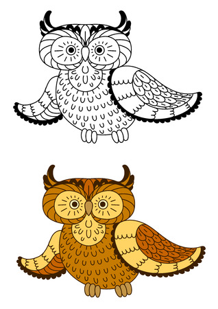 a large bird of prey: Stylized cartoon owl bird with brown and yellow feathers, including second variant with colorless bird in outline style. For Halloween theme design