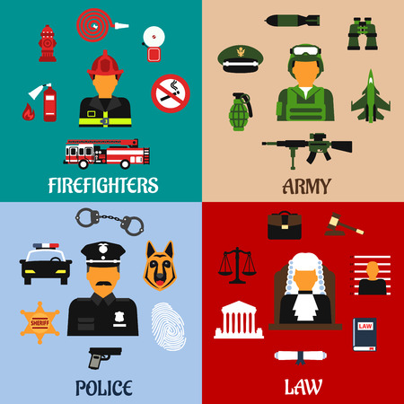 court judge: Public service and military professions flat icons of firefighter with tools, army soldier with equipment, judge in courtroom and police officer in uniform