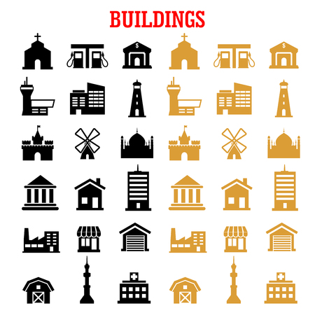 building industry: Building flat icons set with black and yellow house, bank, store, office, factory, school, hospital, church, apartment, gas station, museum, tv tower, garage, farm, mosque, castle, lighthouse and wind mill