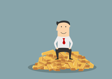wealth concept: Glad businessman sitting on the top of heap of gold bars, for success or wealth concept design. Cartoon flat style