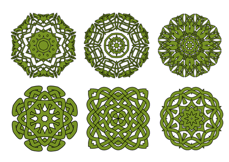 knotted: Circular green celtic knot patterns with floral and animal ornamental elements, for tattoo or medieval themes design