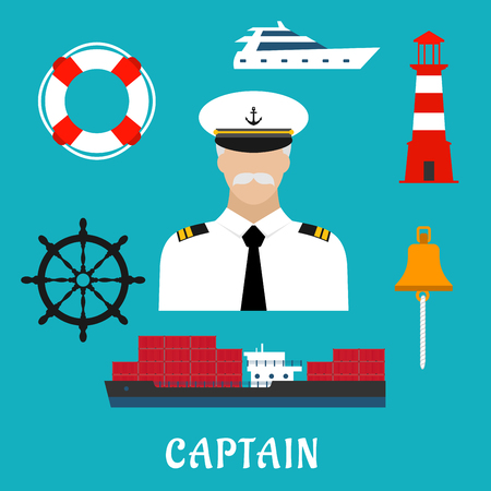 captain cap: Captain profession flat icons with man in white uniform and peaked cap, surrounded by helm, cargo ship, yacht, lifebuoy, bell and lighthouse Illustration