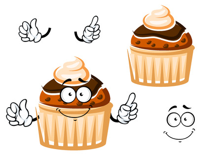 raisin: Friendly muffin cartoon character with raisins, topped by chocolate glaze and whipped cream, for dessert or pastry themes Illustration