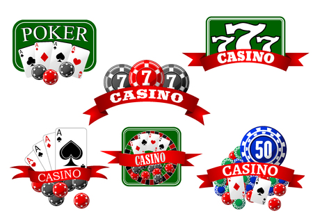 gambling game: Casino, jackpot and poker game icons with cards, gambling chips, roulette wheel and lucky triple seven symbols, supplemented by red ribbon banners
