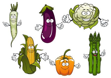 corn on the cob: Organic farm corn cob, orange bell pepper, eggplant, cauliflower, daikon and bunch of asparagus vegetables cartoon characters for agriculture harvest and food themes Illustration
