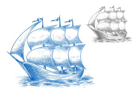 brigantine: Vintage sail ship in ocean under full sail with flags on masts, for marine adventure or nautical theme design. Sketch image