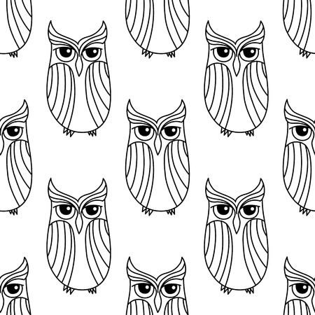 eagle owl: Forest eagle owls seamless pattern background in outline  style, for nature or Halloween theme Illustration
