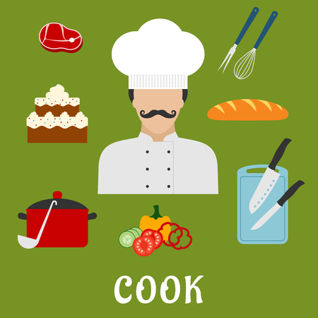 tunic: Cook profession flat icons with man in chef hat and tunic, bread, beef steak, pot with ladle, tiered cake, sliced fresh vegetables, chopping board with knives, whisk and fork
