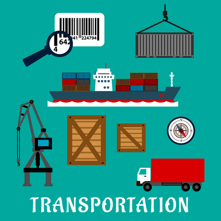 container port: Shipping and delivery flat icons with container ship, cargo crane, wooden and steel containers, barcode with magnifier, compass and delivery truck Illustration