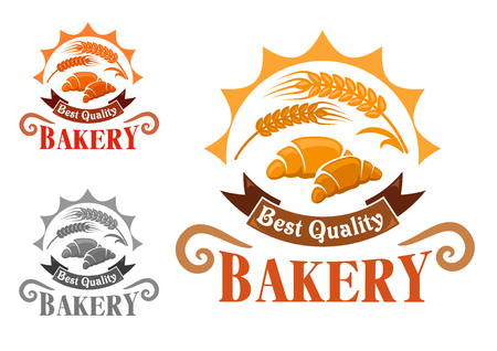 croissants: Bakery shop emblem with french croissants and golden wheat ears in rays of sun, adorned by ribbon banner with text Best Quality. Yellow, orange and gray color variations