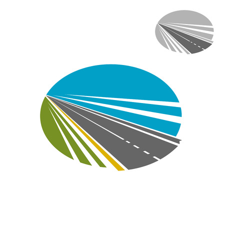 race: Modern speed highway road disappearing into the distance under blue sky, for transportation or travel icon design Illustration