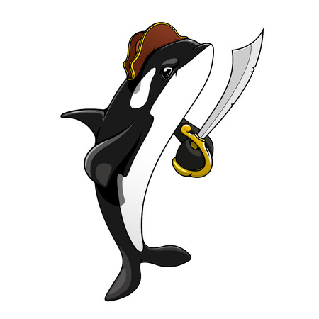 filibuster: Cartoon pirate killer whale character with sword standing on tail, ready to fight. For marine or adventure themes design