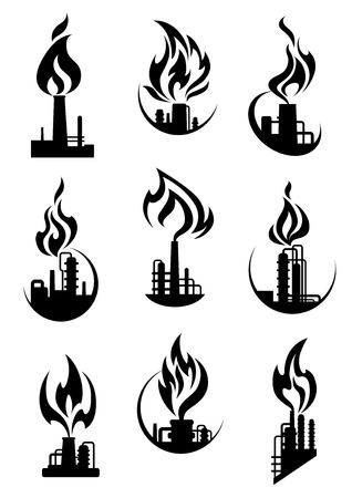 chemical plant: Industrial chemical plant and factory icons with black silhouettes of pipelines, towers and chimneys, fire flames. For gas and oil industry design Illustration