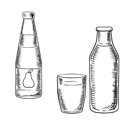vaso de jugo: Botellas de zumo de pera dulce y leche de granja fresco con llenas de vidrio, para el diseño de bebida y comida concepto. iconos del bosquejo