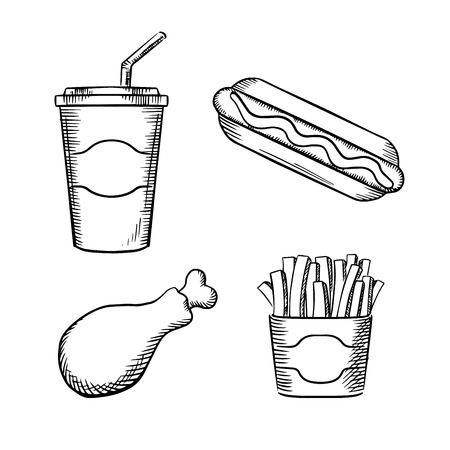 hot cup: Fast food french fries in paper box, hot dog with ketchup, fried chicken leg and sweet soda in takeaway cup with drinking straw. Sketch images