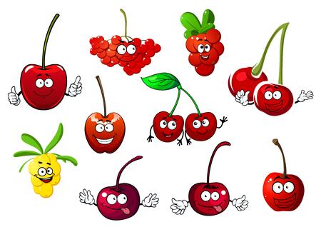 緑の葉と茎、白い背景で隔離の文字「面白いジューシーな漫画甘果オウトウ、rowanberry、コケモモ、海クロウメモドキ フルーツ