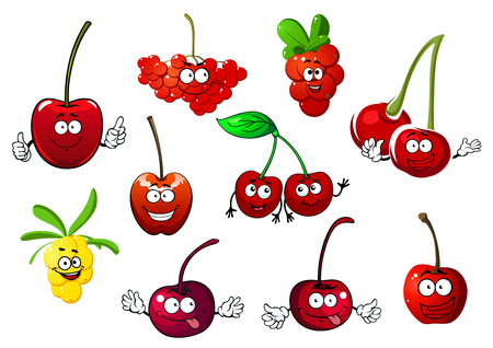 Funny juicy cartoon sweet cherry, rowanberry, cowberry and sea buckthorn fruit characters with green leaves and stems, isolated on white background