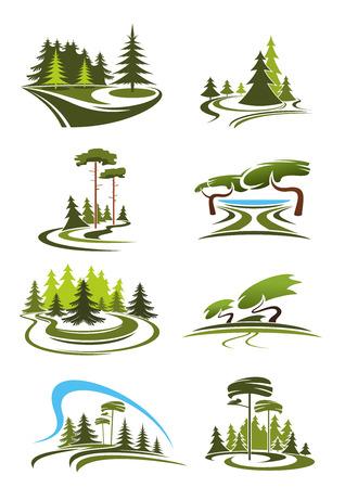 Zomer park, tuin en boslandschap iconen met groene bomen, decoratieve gazons, schilderachtig meer, schaduwrijke steegjes en met gras begroeide open plekken. Voor de natuur thema ontwerp Stock Illustratie