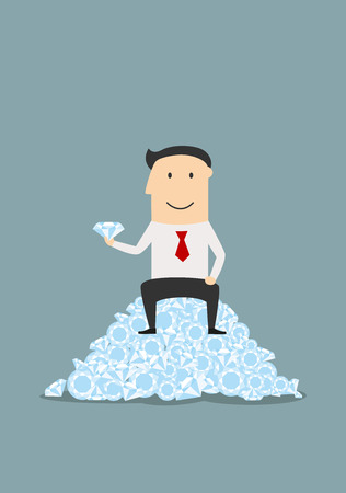 Cartoon joyful businessman sitting on heap of shiny diamonds with big gemstone in hand, for success or wealth theme