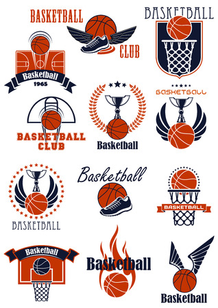 basket ball: Basketball sport game icons with items. Balls, shoes and trophies, supplemented by baskets, backboards, court, wings, flame, stars, shield and ribbon banners elements