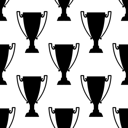 handled: Sport trophy silhouettes seamless pattern with two handled champion cups on white background, for sports or leadership themes design