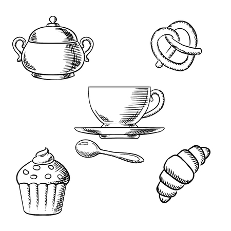 croissant: Cup of coffee with spoon, surrounded by cupcake with whipped cream, croissant, pretzel and sugar bowl. Sketch icons