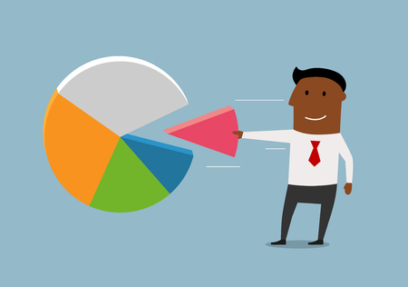 snatch: African american businessman take away a market share from colorful pie chart of global market