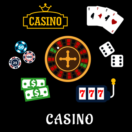 wheel of fortune: Casino flat icons with symbols of roulette wheel, dice, playing cards, gambling chips, dollar bills, casino sign board with golden crown and slot machine with triple seven Illustration