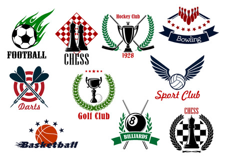 competitions: Sporting emblems for competitions in football or soccer, basketball, hockey, volleyball, golf, billiards, bowling, darts and chess with game items, wreaths and ribbon banners