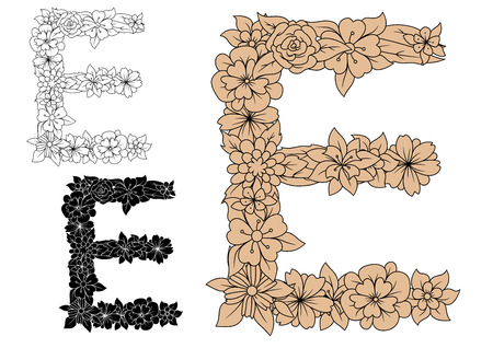 e alphabet: Vintage floral letter E in uppercase font, decorated by flowers and leaves, for monogram or font design Illustration