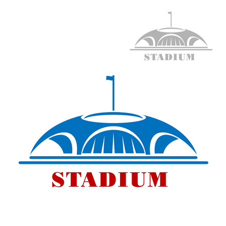 baseball stadium: Sport stadium complex icon with blue shaped modern arena building with arch entrances and flag on the top of the roof, for sport theme design