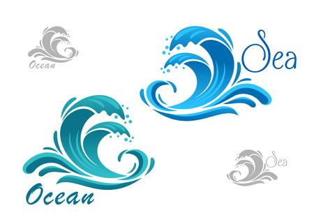 嵐の海青波水の飛散と自然や海洋の設計のための旋回滴アイコン