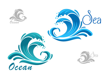 Stormy sea blue waves icon with water splashes and swirling drops, for nature or marine design