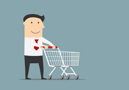 Friendly smiling cartoon businessman with empty shopping cart, ready for shopping