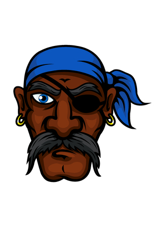 sea robber: Brutal african american pirate cartoon character with blue bandanna, eye patch, golden earrings and long moustache, for marine and adventure theme