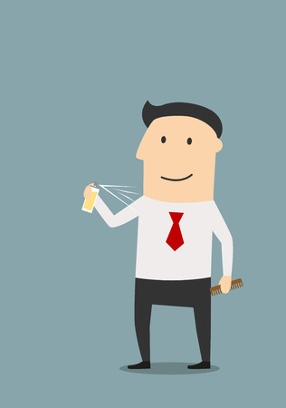 aftershave: Cartoon smiling businessman spraying cologne or deodorant on skin, preparing for new working day
