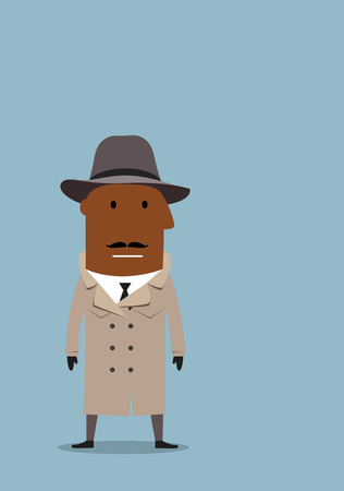 african grey: Serious african american detective man or spy agent in gray coat and fedora hat. Cartoon flat style Illustration