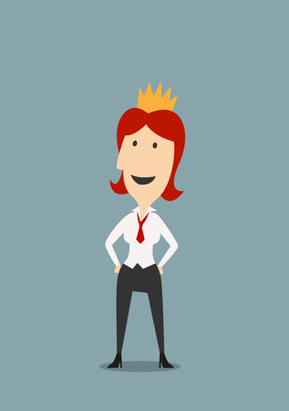 redhead woman: Happy redhead businesswoman or clerk in gold crown. For success or leadership themes