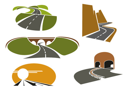 highway tunnels: Mountain and rural roads, underpass highways with tunnels and bridge, modern freeway with medium barrier icons, for travel or transportation design