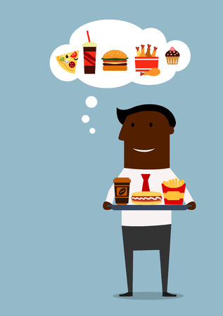 unhealthy thoughts: Black businessman holding a tray with coffee, hot dog and french fries and want to buy burger, pizza, fried chicken and cake. Cartoon flat style Illustration