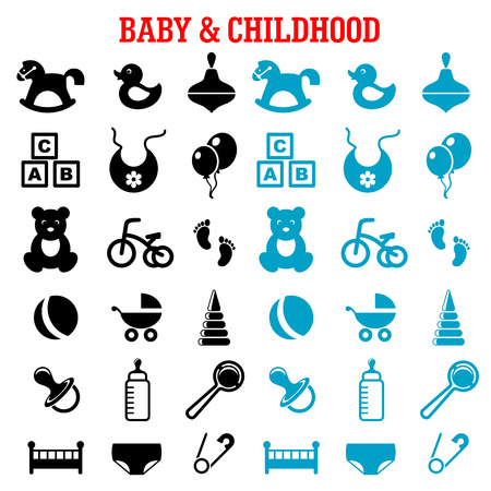 newborn: Baby, childish and childhood icons set with blue and black flat icons of toys, diaper, bottle, pacifier, rattle, stroller, cubes, ball, bed, bib, bicycle and rocking horse Illustration