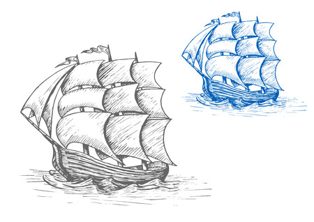 Oude schets zeilschip met golvende zeilen en vlaggen in stormachtige golven voor mariene avontuur of zeevaartontwerp Stock Illustratie