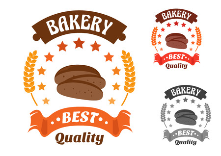 rye bread: Bakery shop symbol with sliced loaf of rye bread, encircled by stars, wheat ears and ribbon banner with text Best Quality. Orange, red and gray color variations