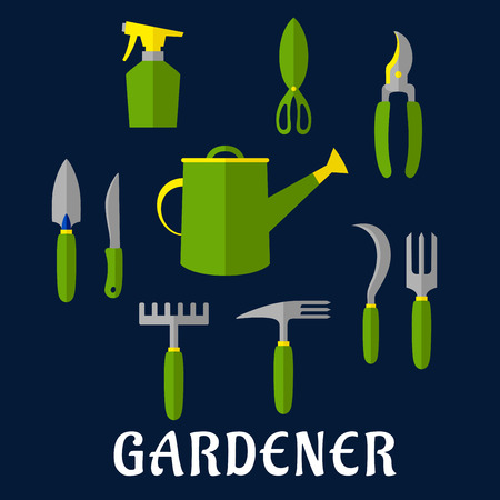 hand trowel: Hand tools icons for gardening design theme with trowel, knife, fork, shears, rake, scissors, spray bottle, weeding hoe, sickle and watering can