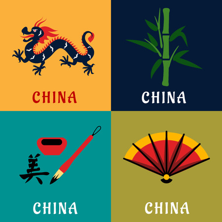 hieroglyph: China tradition and culture flat icons with long dragon, green bamboo stem, bright folding fan and hieroglyph with ink and brush. Travel theme design Illustration