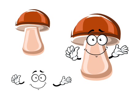 fleshy: Fresh brown porcini mushroom cartoon character with fleshy broad cap and funny smiling face, isolated on white