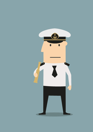 peaked: Confident sea captain in white uniform shirt and peaked cap, with spyglass in hand, for profession theme concept. Cartoon flat style Illustration