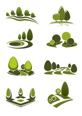 green park: Summer park and public garden landscape icons set with decorative green trees and bushes, figured lawns and walking alleys, for nature or leisure theme