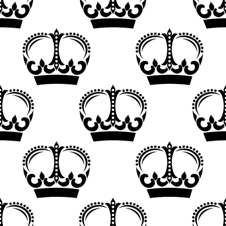 king and queen: Black and white vintage crowns seamless pattern with victorian ornament and floral elements, for heraldry theme design